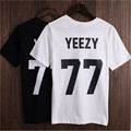 Plus Size Women T Shirt YEEZY 77 Number Letter Printed Tshirt Casual Tops Black White Cotton Short Sleeve Tee T-Shirt T-F10354