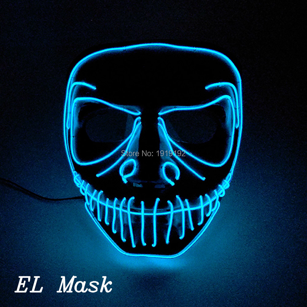10 Color Available EL sheet flickering mask Waterproof Crazy Trendy Popular Mask with DC-3V Steady on For Easter Day decoration
