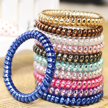 1PC Multicolor Telephone Cord Elastic Hair Bands Hot Sale Ring Traceless Rubber Tie 5CM Headwear