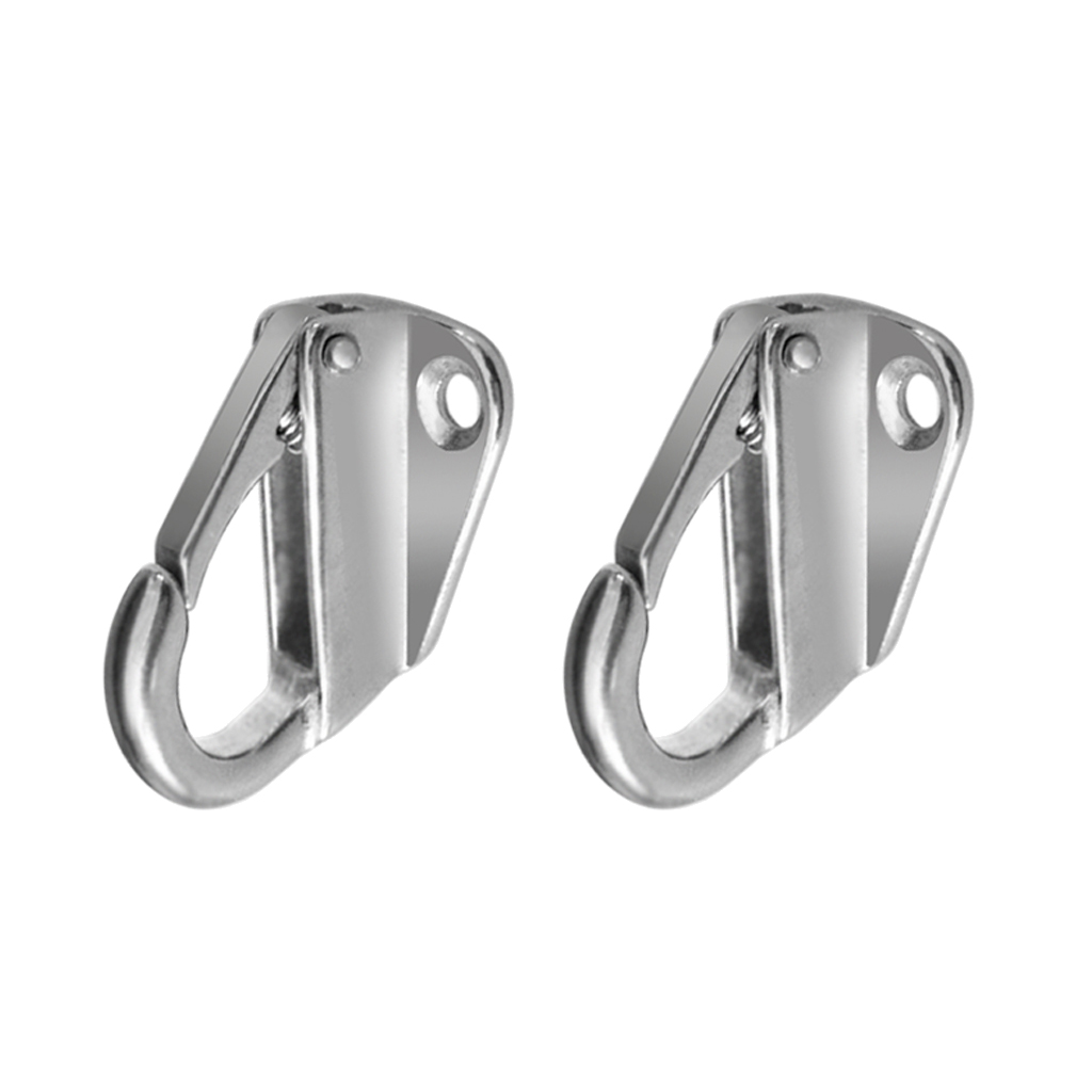 2pcs Marine Grade 316 Stainless Steel Spring Snap Hook Carabiner Link Buckle With Screws 12mm Opening Boat Yacht Accessories