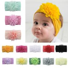 Baby Girls Solid Color Bow Flower Elastic Headband Turban Princess Hairband for kids baby girls