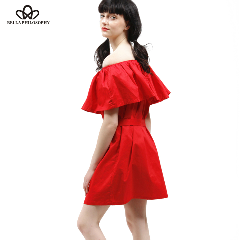 321a49ea158a7 US $11.9 49% OFF|Bella Philosophy 2018 spring summer new women's ruffles  slash neck off the shoulder cotton dress red pink green blue-in Dresses  from ...