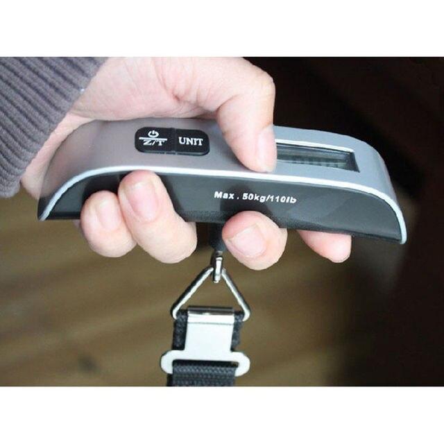 נייד LCD תצוגה דיגיטלית כף יד אלקטרוני לשמירת משקל מאזניים איזון נסיעות מזוודה כבודה מאזני מקסימום 50kg 110ib