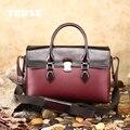 TERSE_Italian телячьей кожи ручной работы кожаный портфель роскошные бургундия сумка с плечевым ремнем роскошный образец поддержка