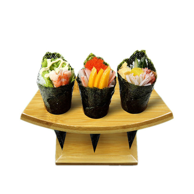 Very best Bamboo sushi stations icecream cones display stand wood buffet  YK82