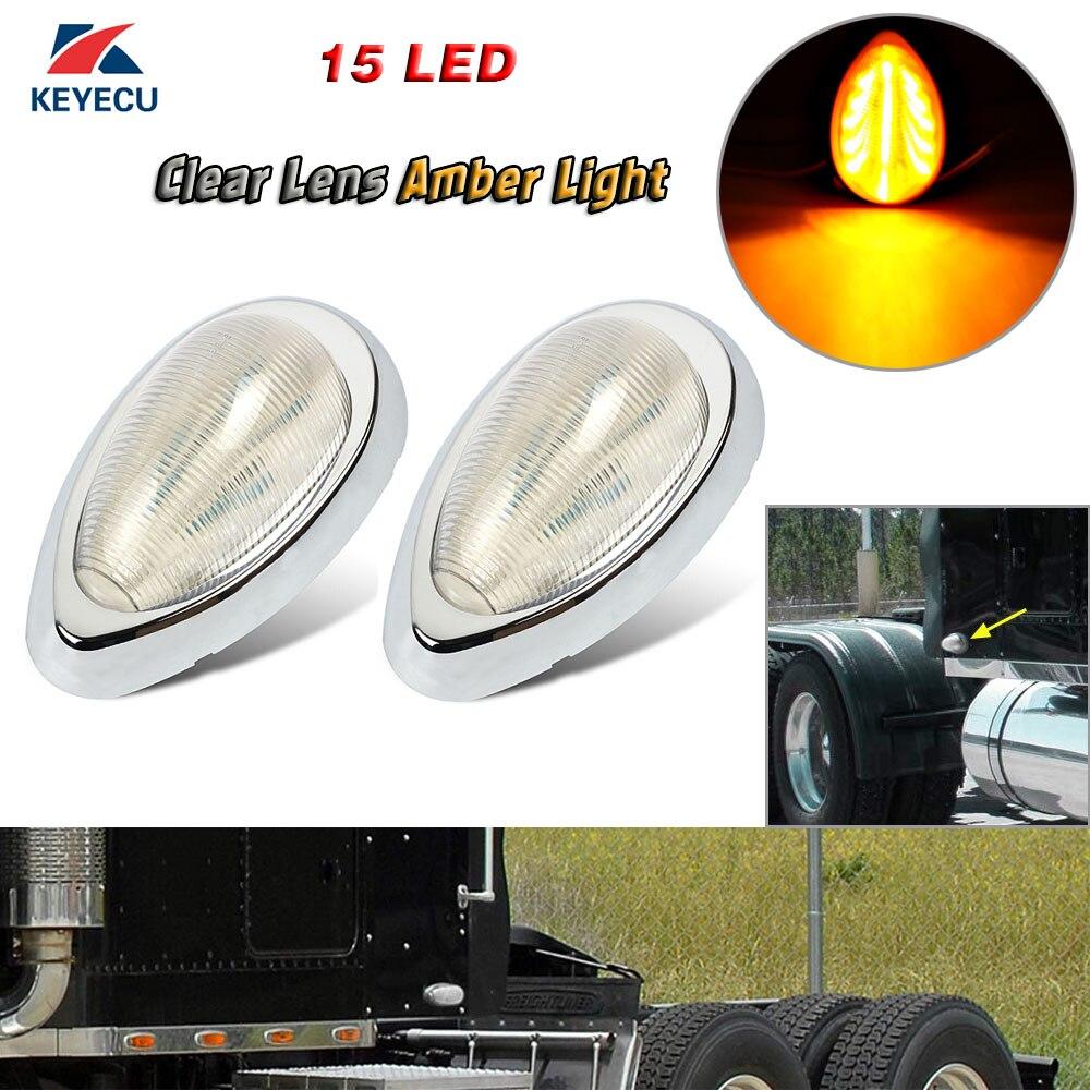 """Keyecu Clear Lens Amber Light 5 7/8"""" 15LED Fender/Side Marker Lamp Turn Signal Teardrop Light For Freightliner 12V Signal Lamp    - title="""