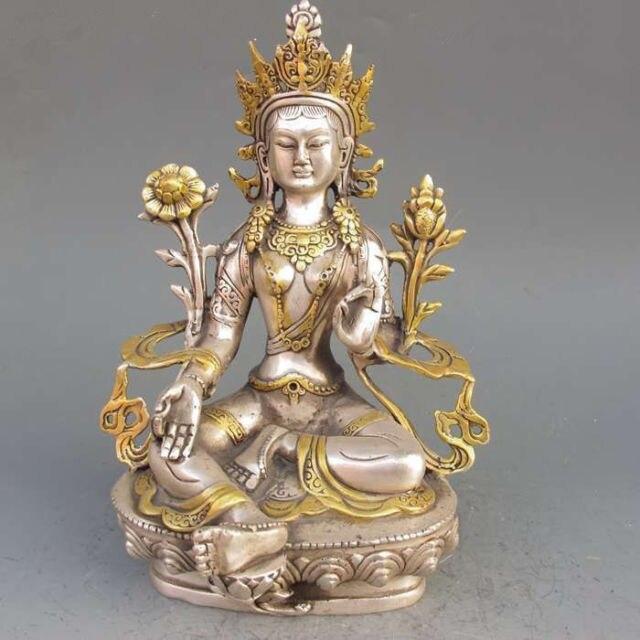8.86 polegada/Elaborado Chinês Tibetano Prata Gilt Buda Budismo Tibetano Estátua... Tara Branca