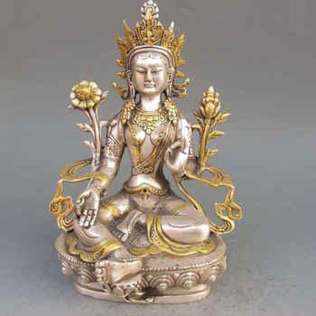 Statue tibétaine de bouddhisme tibétain en argent doré tibétain de 8.86 pouces/élaboré-bouddha Tara blanc