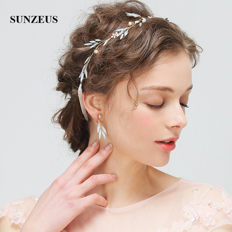 Crystals Leaves Headband For Women Hair Accessories Pearls Gold Flowers Hair Decoration With Earring SHA29