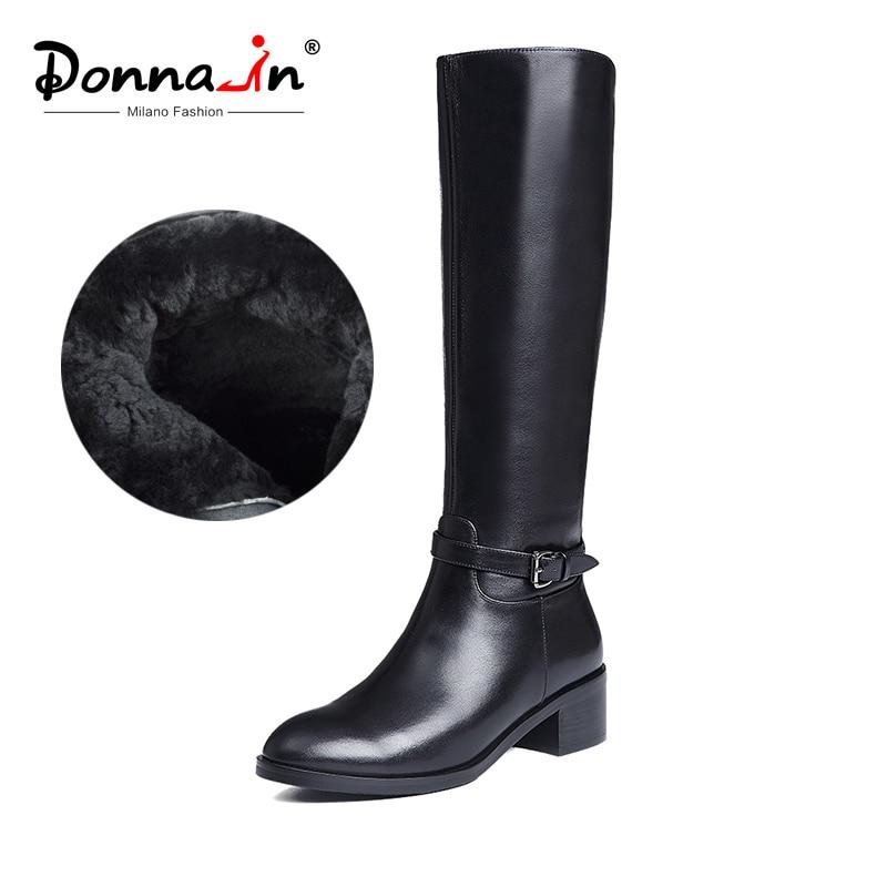 Donna-en invierno botas mujeres hasta la rodilla botas de piel caliente nueva moda de cuero Real de las mujeres zapatos de punta redonda tacón negro mujer 2018