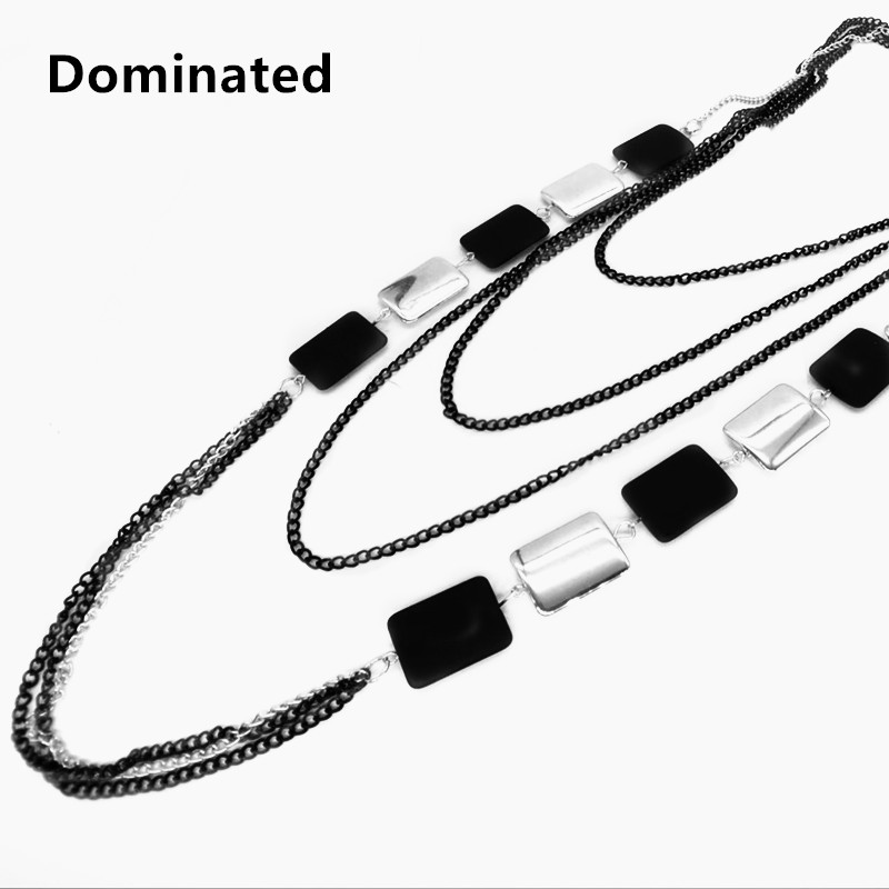 Dominated Women Punk Chain Necklace Jewelry Fashion Long Multi Tier Sweater Chain gold multi layer necklace sweater chain necklace