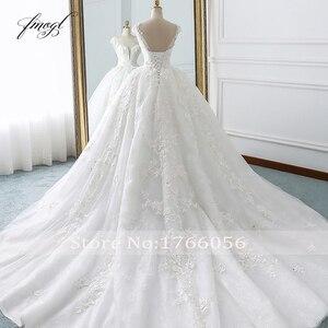 Image 2 - Fmogl Vestido De Noiva Prinses Baljurk Trouwjurken 2019 Applicaties Kralen Bloemen Kapel Train Lace Bridal Jurk