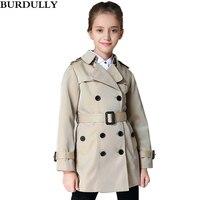Spring Girls Jacket Children Khaki Classic Windbreaker Kids Autumn Coat
