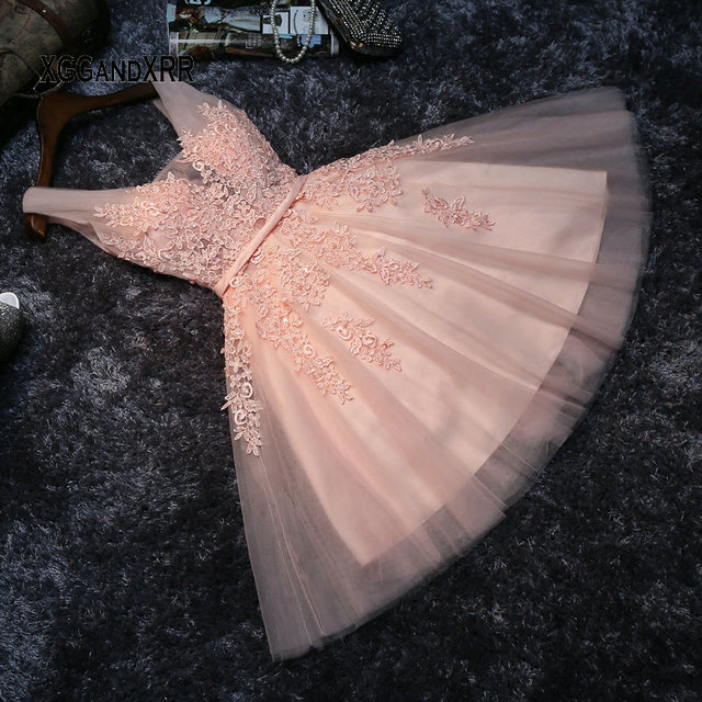 2019 Elegant Tulle Sleeveless Short Prom Dresses Beaded Appliques Homecoming Gown Gala Vestido de festa Pink Girl Party Dress