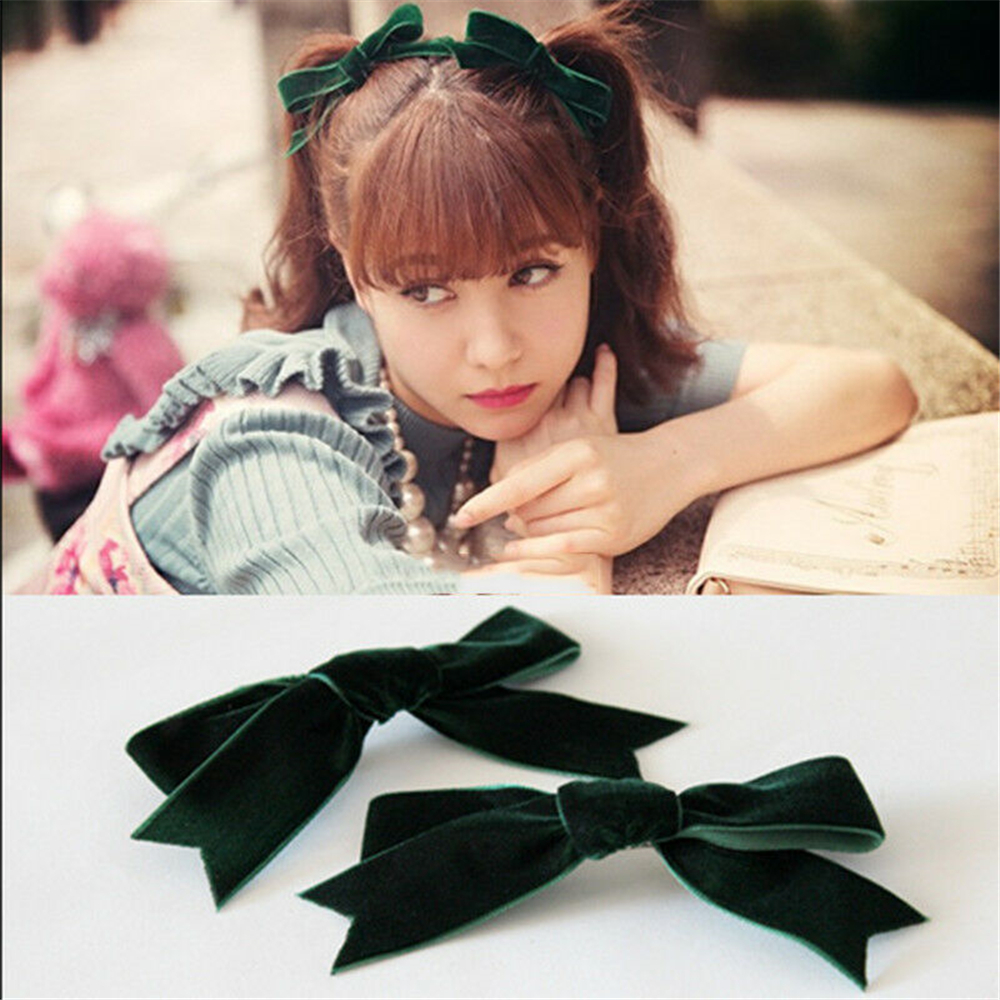 HOOH 2Pcs 2019 New Arrival Women's Velvet Bow Hairpins Girl' Cute Lovely Hair Clips Hair Korea Hair Accessories For Girls