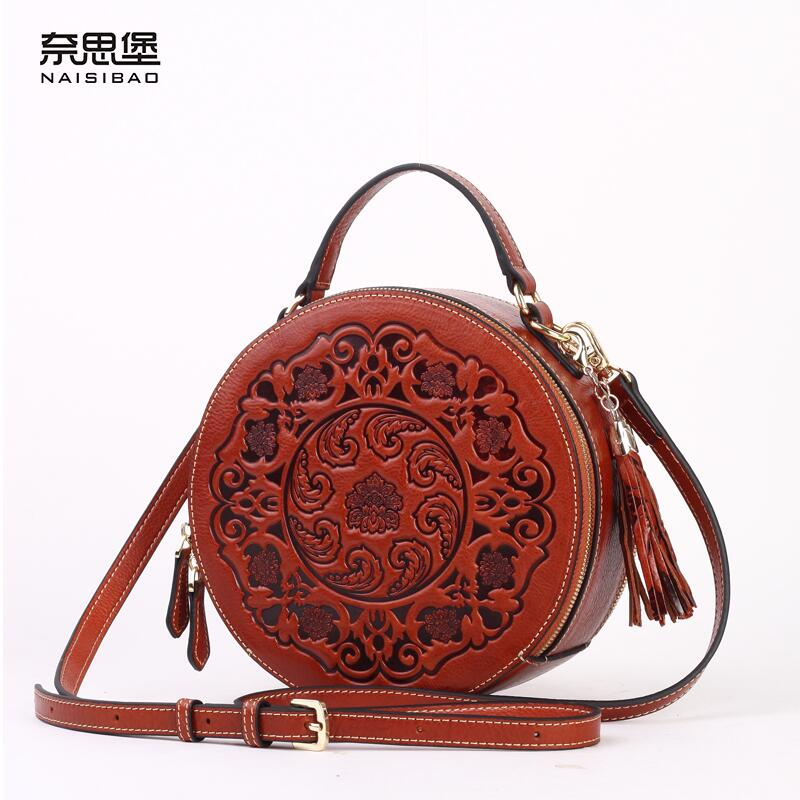 Nai Sibao new leather handbags shoulder bag small round bag Messenger bag  leather embossed Chinese wind bag retro-in Top-Handle Bags from Luggage    Bags on ... 97e466c654e43