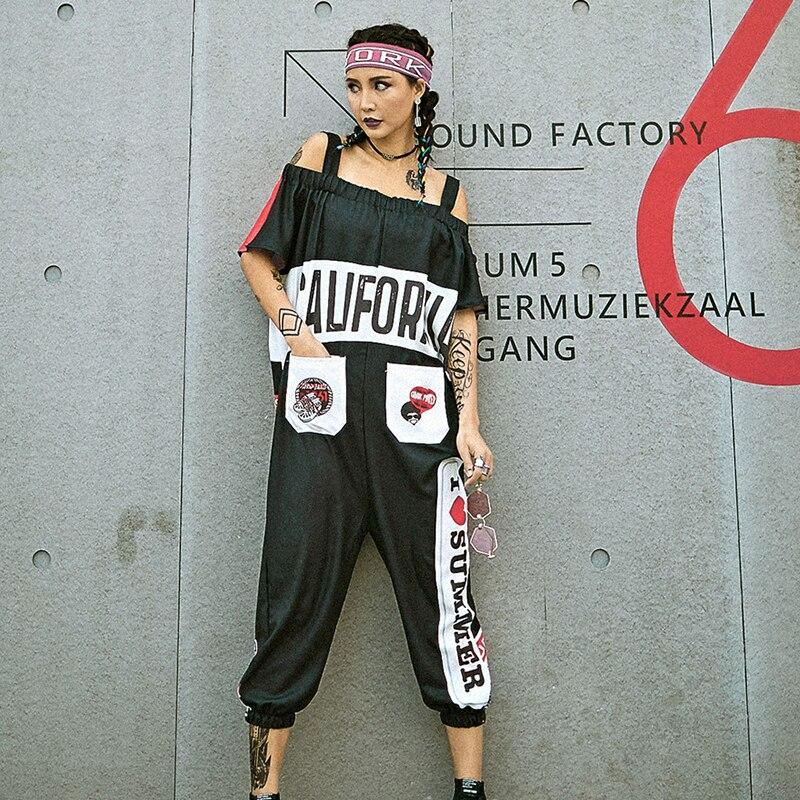 Hip Hop Costume Bib Pants Personalized Print Jumpsuit Women Street Dancewear Adult Dance Outfit Stage Dancing Clothes DT889