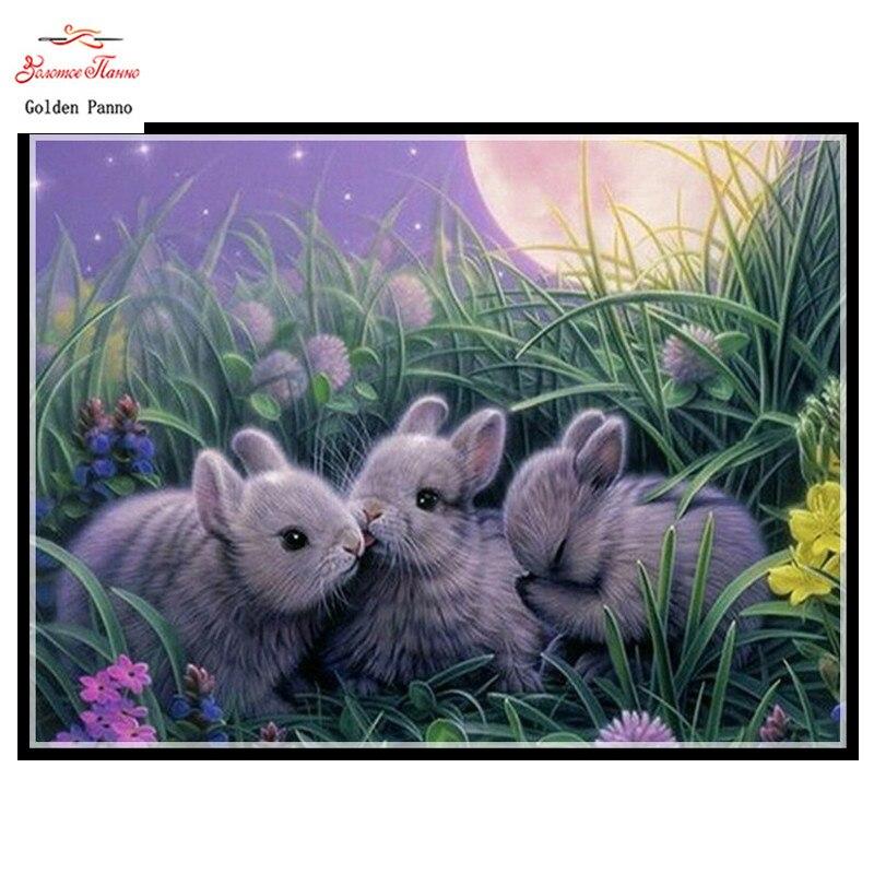 Embroidery,Diamond mosaic,DIY 5D Diamond painting,3D Diamond stitch,Diamond Embroidery Pattern Rhinestone RabbitS Cross Stitch