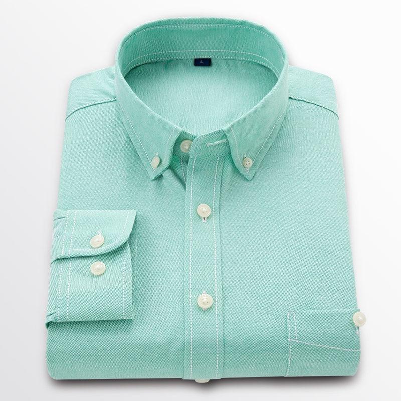 2 hommes Casual Chemise À Manches Longues 100% Coton Oxford Chemise Hommes D'affaires Hommes Robe Chemises Homme Sociale Vêtements GT01