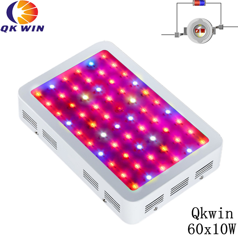 Qkwin 600W Double chip LED Grow Light 60x10W Full Spectrum Hydroponic Planting shipping 3pcs lot double chip qkwin 600w led grow light 60x10w double chip full spectrum for hydroponic planting shipping