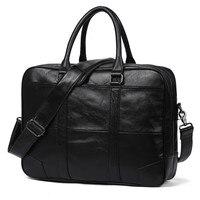New Promotion Simple Brand Design Business Men Briefcase Bag Genuine Cow Leather Laptop Bag Men Shoulder