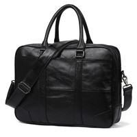 New Promotion Simple Brand Design Business Men Briefcase Bag Genuine Cow Leather Laptop Bag Men Shoulder