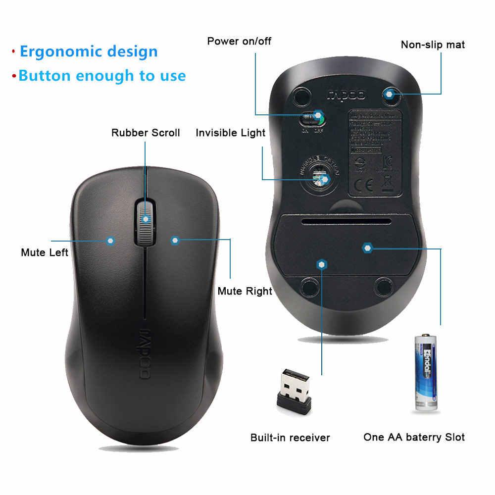 Originale Rapoo Silenzioso Pulsante Mute Mouse Ottico Senza Fili Fare Clic Su Mini Silenzioso Gioco Mouse 1000 DPI per Macbook Computer Portatile Del PC Del Computer