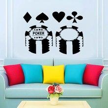 f74b242d6d533 Tasarım Poker Casino Kart Desen Duvar Sticker Vinil Çıkartması Mural Para  Oyunu Oyna Yapışkanlı Duvar Kağıdı Arka Plan Dekorasyo.