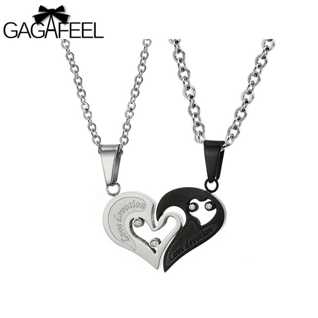 Aliexpress buy gagaffel mens stainless steel necklaces love gagaffel mens stainless steel necklaces love heart pendant stainless steel suspension pendants men women jewelry couples mozeypictures Images