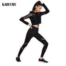 2 Pieces Women Mesh Yoga Sets Sports Coat + Elastic Pants Gym Fitness Jogging Running Suit Clothing Sports Leggings For Women