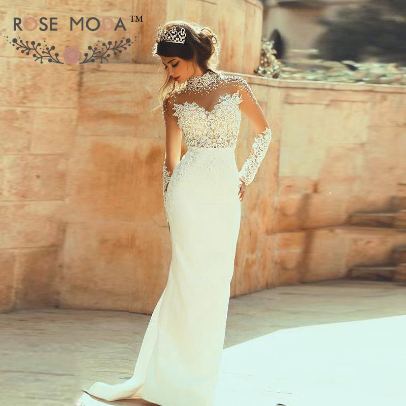 Pearl beaded high neck long sleeves see through lace for Wedding dress with see through lace bodice
