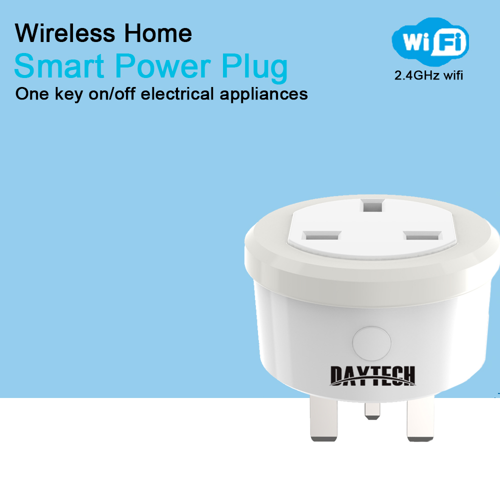 DAYTECH Smart Home WiFi Socket Mini Smart Power Plug APP Control Timing Outlet for Alexa/ Google Assistant/ITFFF UK Plug
