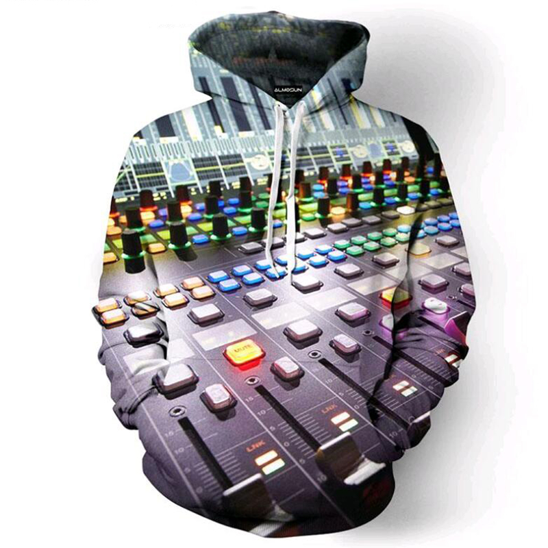 Fashion Hoodie Sweatshirt Music Dj Concert 3D All Over Print Pullover Hoodies Hip Hop Hipster Jumper Radio Men Women Sportwear ...