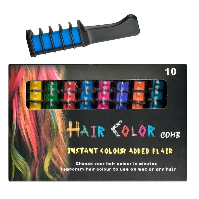 Cheveux temporaires Pro Mini craies Crayons 10 couleurs pour cheveux multicolore couleur colorant cheveux teinture peigne soins des cheveux outils de coiffure ensemble