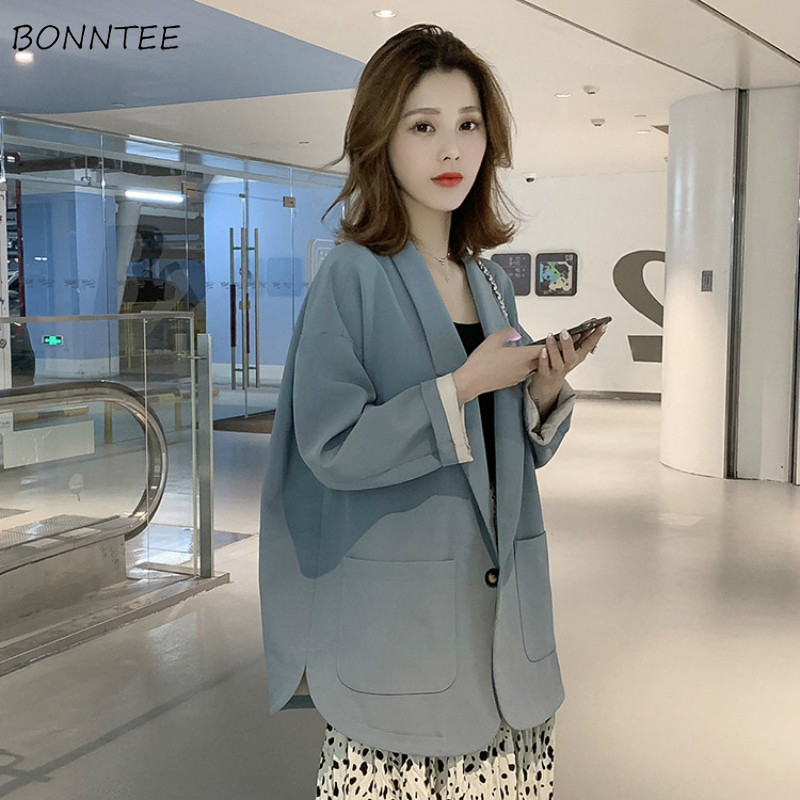 Blazers Women Korean Style Elegant Soft Leisure Single Button All-match Solid Womens Trendy 2019 Spring Autumn Clothing Lovely