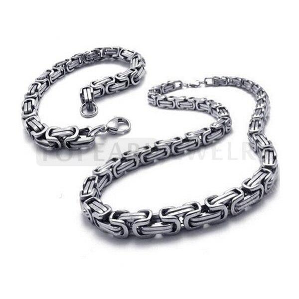 Ssj86 Ckku Jewelry 8mm Byzantine Stainless Steel Thick Chain Necklace Bracelet Set