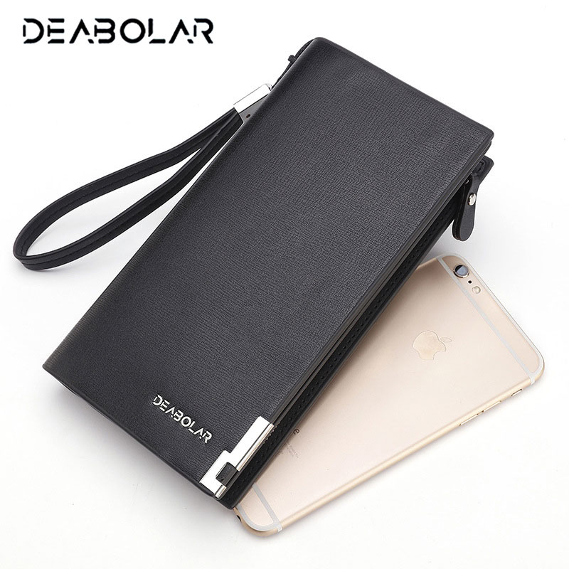 DEABOLAR 2018 Big Capacity Multifunction Long Zip Hasp Man Business Hand Clutch Wallet Phone Pocket Card Holder Purse for Men