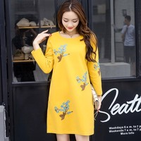 Embroidered Maternity Dresses Clothes Fashion Pregnancy Dress For Pregnant Women Autumn Winter Yellow Dresses Maternity Clothing