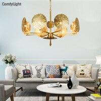 Gold Chandelier Lighting Copper Brass Lamp Ceiling Loft Lamp Livingromm Fixture Light LED Home Decor Lustre