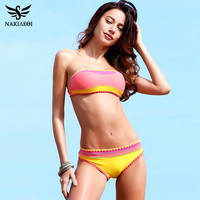 NAKIAEOI 2017 New Sexy Bikinis Women Swimsuit Crochet Bikini Set Neoprene Knitted Biquini Push Up Swimwear