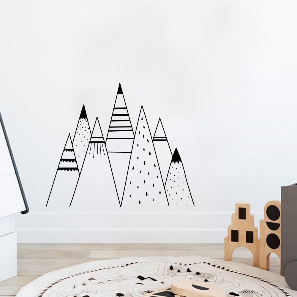 Mountain Range Wall Decal Baby Room Art Mural Bedroom