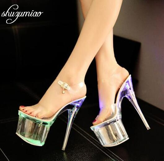 Steel Tube Dancing Fluorescence Shine Shoes Women 2019 Summer New High Heel Peep Toe Nightclub Sandals 17.5cm Waterproof 7.5cm