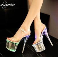 Steel Tube Dancing Fluorescence Shine Shoes Women 2018 Summer New High Heel Peep Toe Nightclub Sandals 17.5cm Waterproof 7.5cm