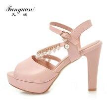 dacb364bc6d Fanyuan Platform Sandals Women Rhinestone Party Dress Sandals 10CM Chunky High  Heels Summer Womens Shoes Sandals