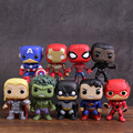 Marvel DC Super Heroes Captain America Iron Man Spiderman Black Panther Thor Hulk Batman Superman Flash PVC Figuur Speelgoed 9 stks/set