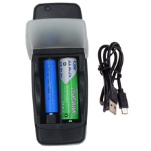 2 bay USB smart battery charger for 1.6V AA AAA NI-ZN 3.2V 14500 10440 LiFePo4 Rechargeable tip with LED display