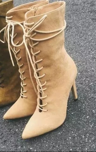 цена на New Arrival Pointed Toe High Heel Mid-calf Boots Lace Up Cut-outs Booties Mujer Spring Autumn Party Dress Shoes Women