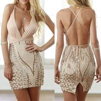 2017 New Summer Sexy Women Deep V Neck Stripes Stitching Bandage Sequin Bodycon Gold Dress Club