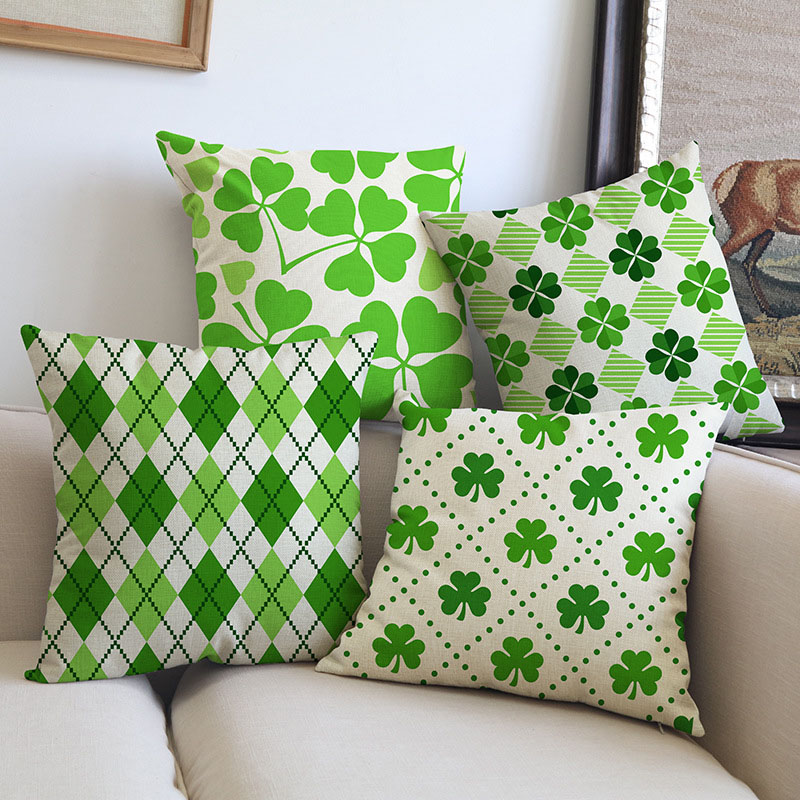 Irish National Flower Shamrock Green Clover Geometric Leaf Patterns Pillow Case Sofa Decoration cushion cover