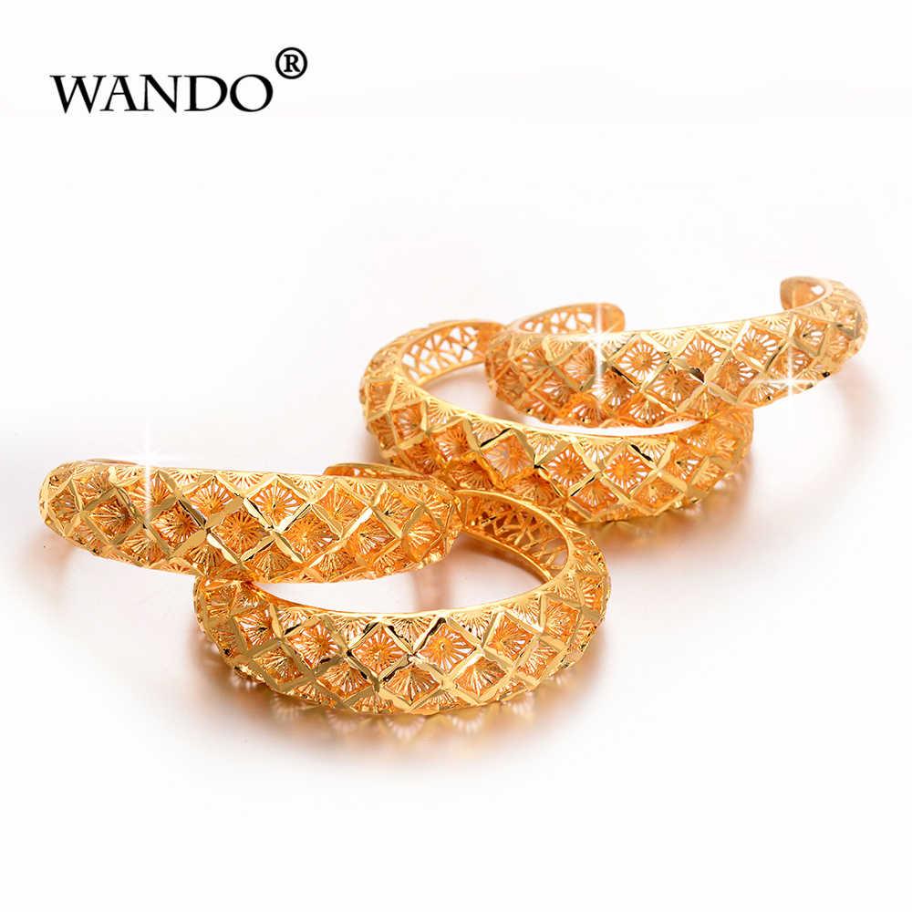 Wando 4pcs Ethiopian Pattern Gold color bangles for women Snow Dubai France Spain bride wedding bracelet Arab middle east
